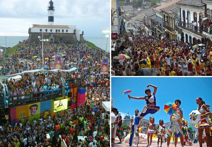 Carnaval no Brasil ( da direita para esquerda Bahia, Minas Gerais e Pernambuco)